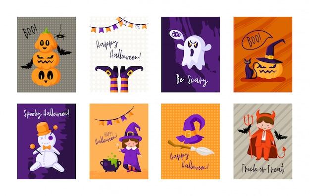 Halloween cartoon grußkarte oder kinderzimmer poster set - kürbislaterne, kinder in karnevalskostümen, magische kreaturen, geist, voodoo-puppe,