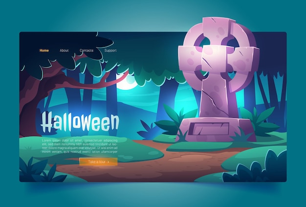 Halloween-cartoon-landingpage-nachtfriedhof