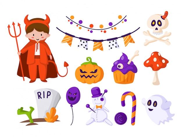 Halloween-cartoon-set - junge im halloween-kostüm des teufels, süßer angstkürbis, zuckerstange, gruseliger geist, schädel und knochen, voodoo-puppe