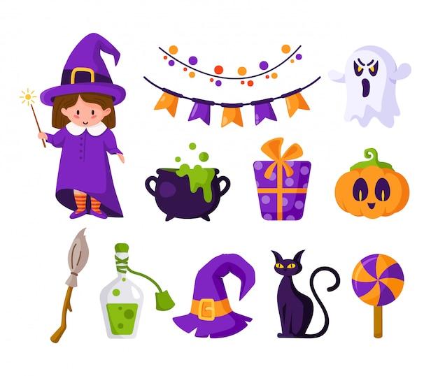 Halloween-cartoon-set - mädchen im halloween-kostüm der hexe, des niedlichen kürbises, der süßigkeit, des gruseligen gruseligen geistes, der schwarzen katze, des kessels und des tranks, der violetten geschenkbox
