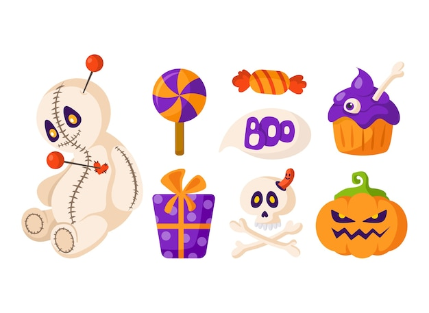 Halloween-cartoon-set - voodoo-puppe und kürbislaterne, gruseliger schädel und knochen, süßigkeiten, geschenkbox und kuchen - isolierter vektor