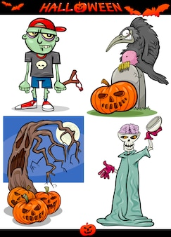 Halloween cartoon spuk-themen-set