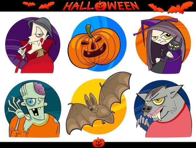 Halloween-cartoon-themen eingestellt