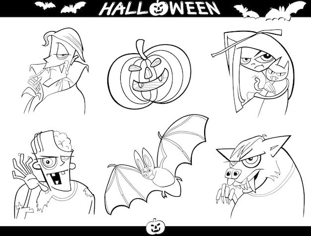 Halloween-cartoon-themen zum ausmalen