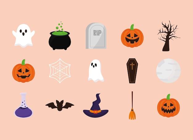 Halloween cartoons set design, gruseliges thema