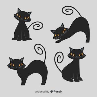 Halloween-charakter der netten schwarzen katze der karikatur