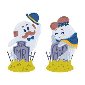 Halloween charaktere. geister und grabsteine. liebesgeschichte auf dem friedhof. zwei geister, herr und frau, treffen sich an ihren grabsteinen. ruhe in frieden.