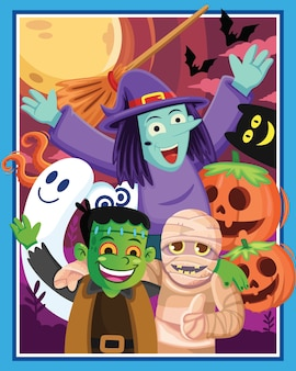 Halloween-charakterkarikatur mit einem mond, karikaturillustration.
