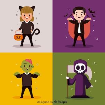 Halloween-charaktersammlung im flachen design