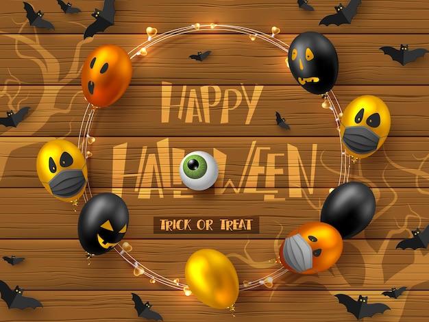 Halloween-coronavirus-konzept, covid-19-schutz. glänzende ballons mit monstergesichtern in schutzmasken, fliegende fledermäuse. vektor-illustration.