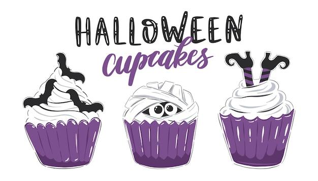Halloween cupcakes sammlung von cliparts mit süßen halloween desserts isoliert