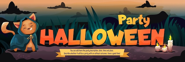 Halloween cute cat costume party template einladungsflyer mit text vektor-cartoon-illustration