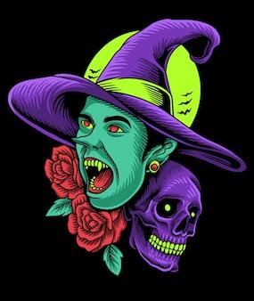 Halloween dark witch skull