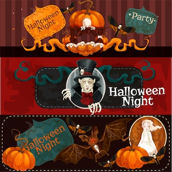 Halloween dekorative horrorbanner mit fledermaus und kürbis