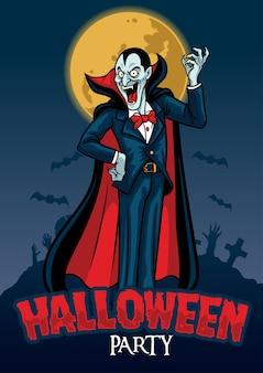Halloween-design des vampirs im friedhofshintergrund
