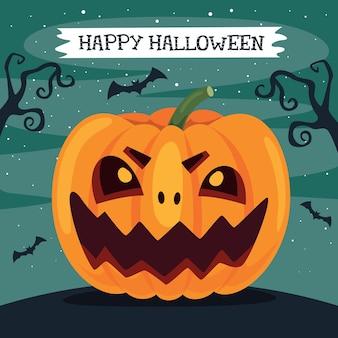 Halloween design mit cartoon charakter grußkarte