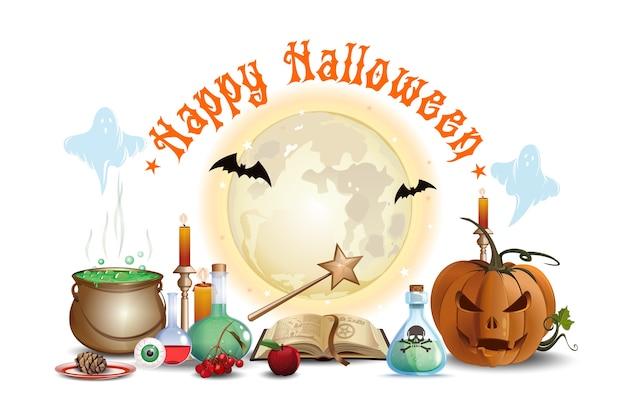 Halloween-design mit zaubererlabor. fröhliches halloween