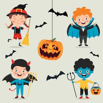 Halloween-design mit zeichentrickfigur