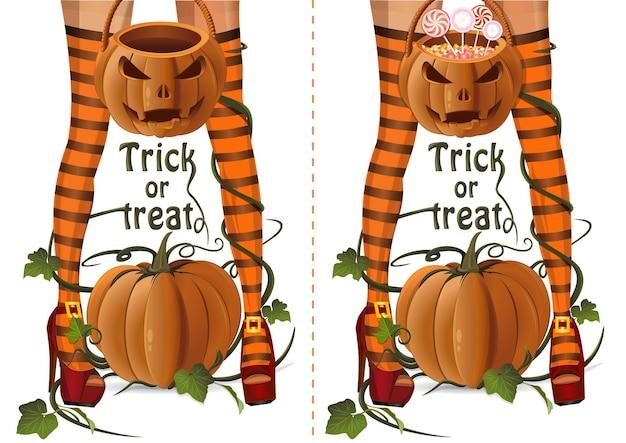 Halloween-design-set. sexy hexenbeine der nahaufnahme auf einem hintergrund des kürbises. sexy hexe mit jack-o-laternentasche mit lutscher-süßigkeiten und leerem halloween-korb. süßes oder saures. vektor-illustration