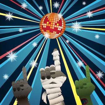 Halloween-disco mit den händen von mumie, werwolf und zombie tanzen unter jack o laterne mirr