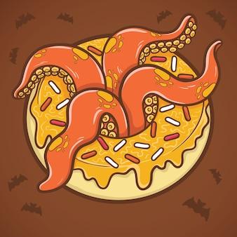 Halloween-donut mit tentakeln der krakenillustration