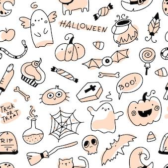Halloween doodle nahtlose muster urlaub charaktere und schreckliche elemente handgezeichnete cartoon