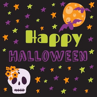 Halloween druckbare karte mit cartoon niedlichen kürbissen geister hexen fledermäuse knochen sterne