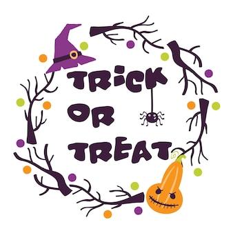 Halloween druckbare karten mit cartoon niedlichen kürbissen geister hexen fledermäuse knochen sterne