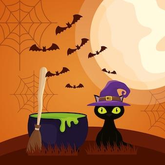 Halloween-dunkelheit mit großem kessel- und katzencharakter