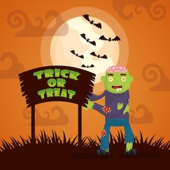 Halloween-dunkelheit mit zombiecharakter