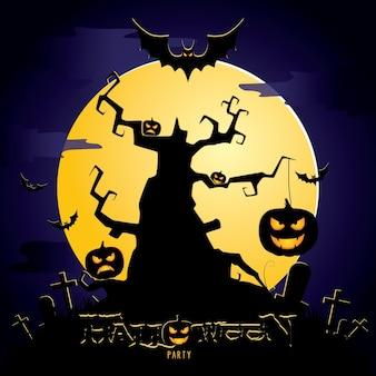 Halloween dunkle illustration mit beängstigendem baum und bösem kürbisfriedhof backgroun