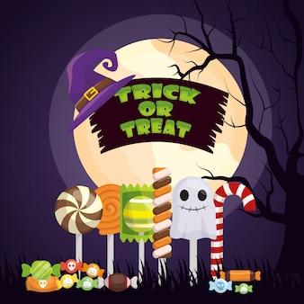Halloween-dunkle nacht mit gesetzten süßigkeiten