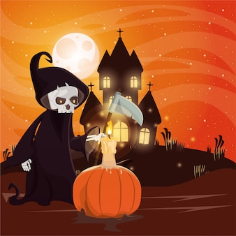 Halloween-dunkle szene mit der person verkleidet vom tod