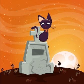 Halloween dunkle szene mit friedhof