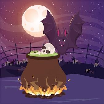 Halloween dunkle szene mit hexenkessel