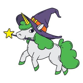 Halloween-einhorn mit zauberstab, hexenhut und grüner mähne.