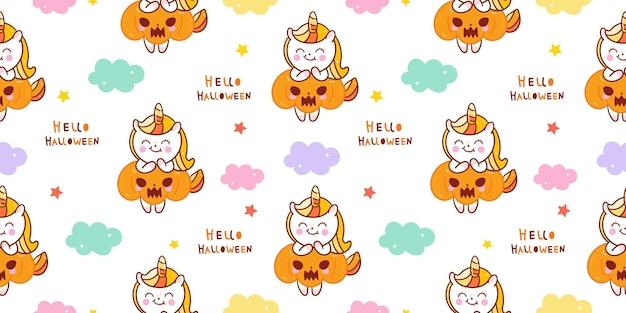 Halloween-einhorn nahtloses muster mit kürbis kawaii tier
