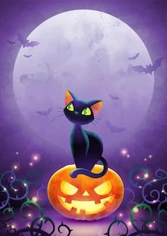 Halloween-einladungsillustration mit der schwarzen katze der karikatur, die auf gesichtskürbis gegen den vollmond sitzt.