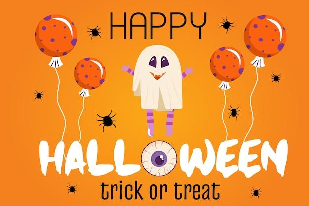 Halloween-einladungsschablone auf einem orangefarbenen hintergrund ein banner mit einem geistercharakter und luftballons