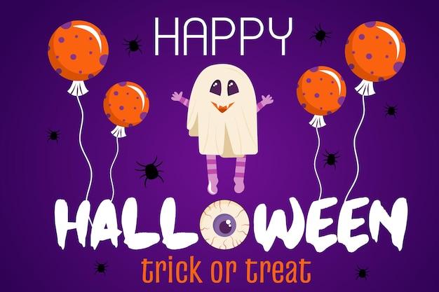 Halloween-einladungsschablone auf lila hintergrund ein banner mit einem geistercharakter und luftballons