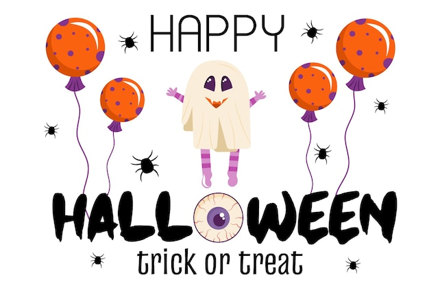 Halloween-einladungsschablone auf weißem hintergrund ein banner mit einem geistercharakter und luftballons