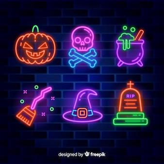 Halloween element leuchtreklame sammlung