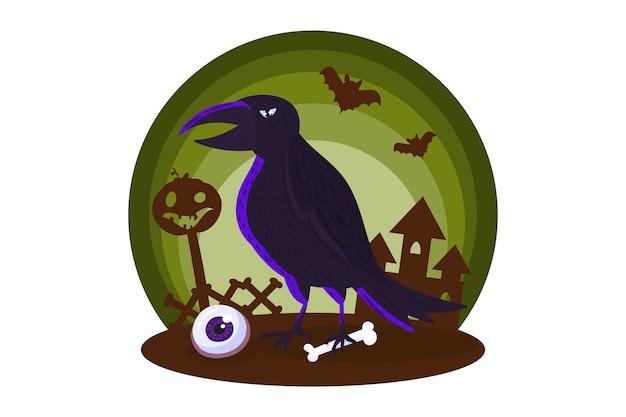 Halloween-element mit mysteriösem raben.