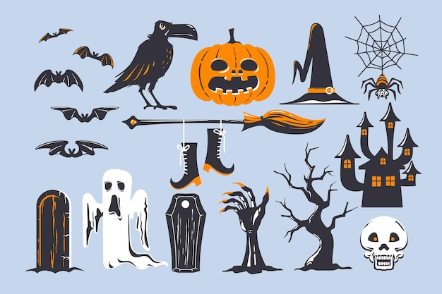 Halloween element sammlung thema