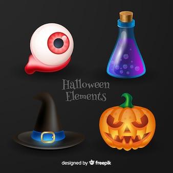 Halloween-elemente auf schwarzem hintergrund
