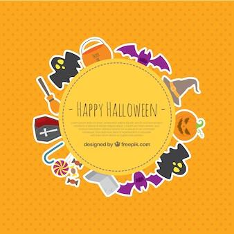 Halloween-elemente aufkleber hintergrund