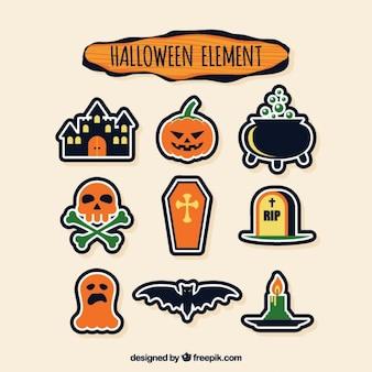 Halloween-elemente aufkleber