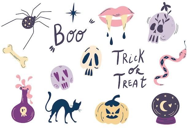 Halloween-elemente große hexenzauber-design-elemente-sammlung netter handgezeichneter zauberer-set