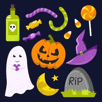 Halloween-elemente. handgezeichnete flache sammlung. vektor-illustration.