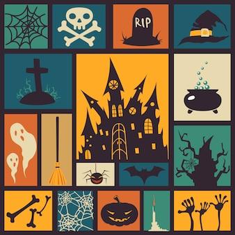 Halloween-elemente in bunten quadraten